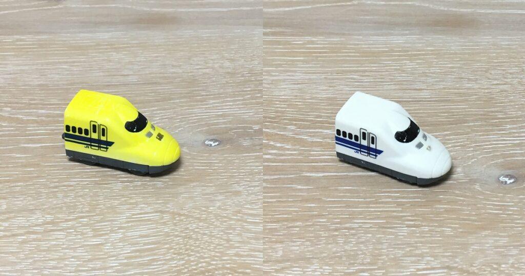 温度で色が変わる新幹線のおもちゃ
